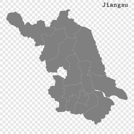 High Quality map of Jiangsu is a province of China, with borders of the divisions 向量圖像