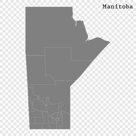 High Quality map of Manitoba is a province of Canada, with borders of the counties