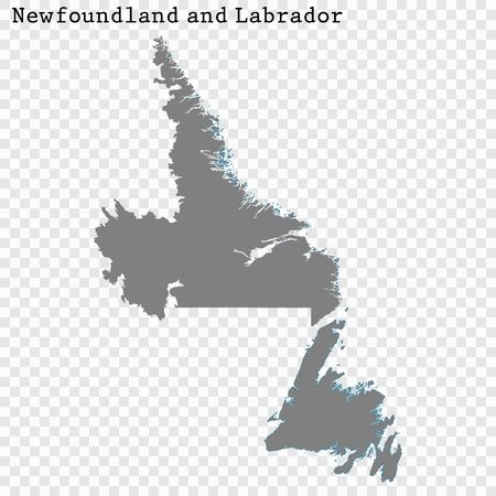 Carte de haute qualité de Terre-Neuve-et-Labrador est une province du Canada, avec les frontières des comtés Vecteurs