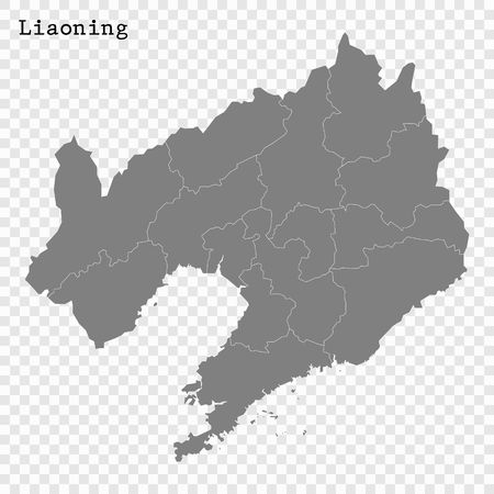 High Quality map of Liaoning is a province of China, with borders of the divisions