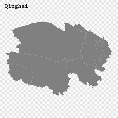 High Quality map of Qinghai is a province of China, with borders of the divisions