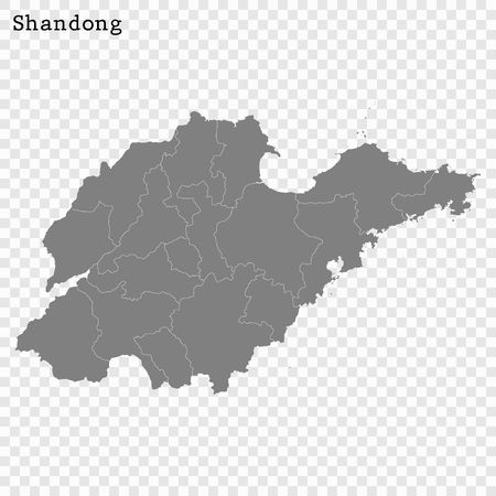 High Quality map of Shandong is a province of China, with borders of the divisions