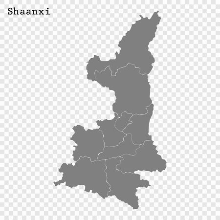 High Quality map of Shaanxi is a province of China, with borders of the divisions