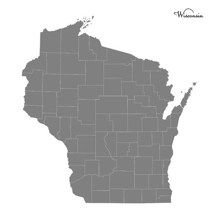 High Quality map of Wisconsin is a state of United States with borders of the counties