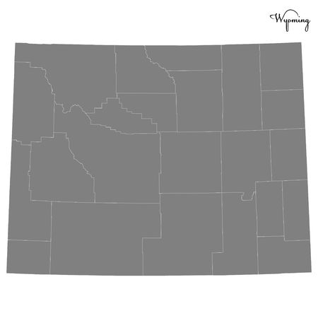 High Quality map of Wyoming is a state of United States with borders of the counties  イラスト・ベクター素材