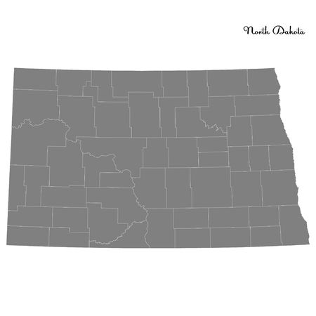 High Quality map of North Dakota is a state of United States with borders of the counties