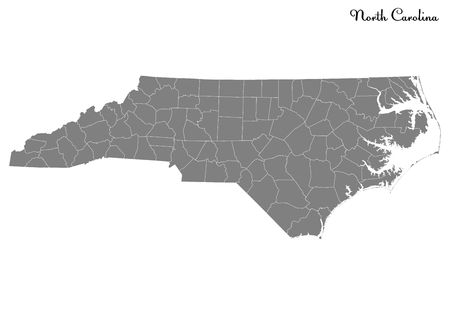 High Quality map of North Carolina is a state of United States with borders of the counties Çizim