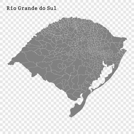 High Quality map of Rio Grande do Sul is a state of Brazil, with borders of the municipalities  イラスト・ベクター素材