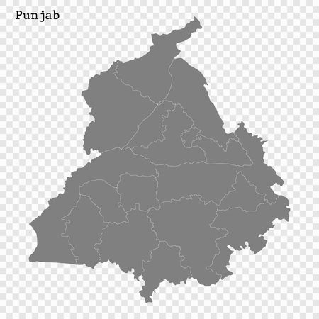 High Quality map of Punjab is a state of India, with borders of the districts 向量圖像