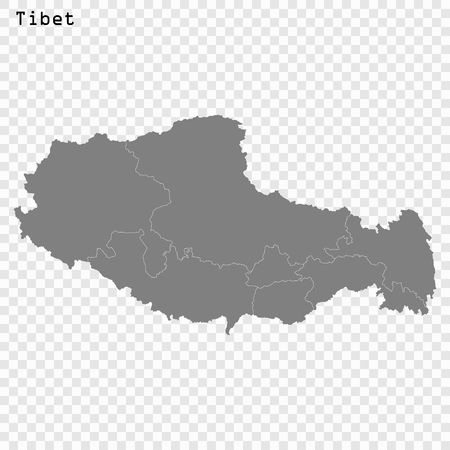 High Quality map of Tibet is a province of China, with borders of the divisions