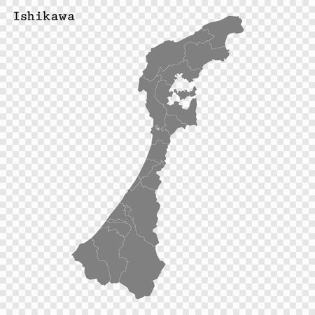 High Quality map of Ishikawa is a prefecture of Japan with borders of the districts Vektorové ilustrace
