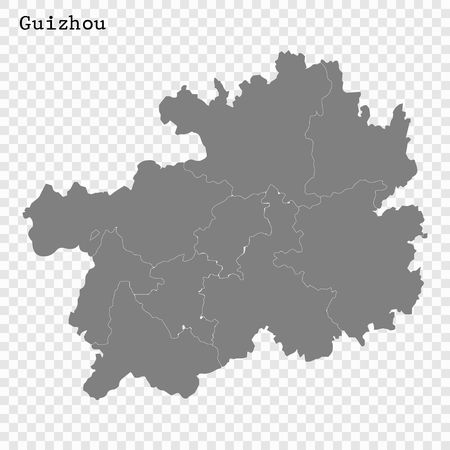 High Quality map of Guizhou is a province of China, with borders of the divisions Illustration