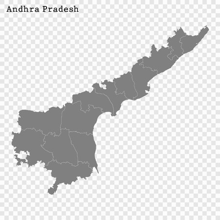 High Quality map of Andhra Pradesh is a state of India, with borders of the districts