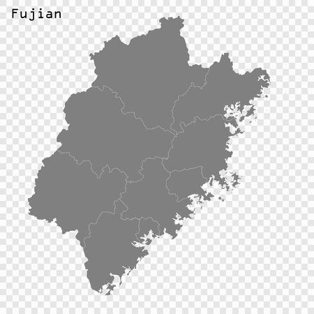 High Quality map of Fujian is a province of China, with borders of the divisions