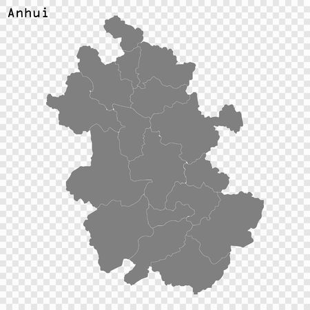 High Quality map of Anhui is a province of China, with borders of the divisions Illustration
