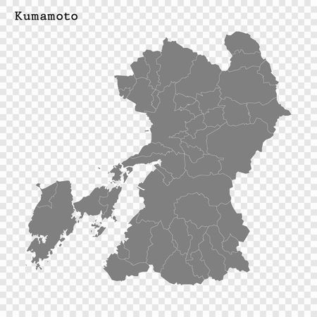High Quality map of Kumamoto is a prefecture of Japan with borders of the districts  イラスト・ベクター素材