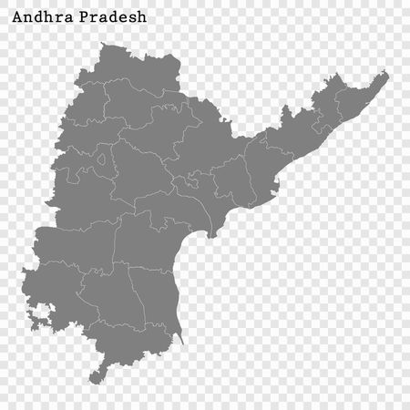 High Quality map of Andhra Pradesh is a state of India before 2014 , with borders of the districts