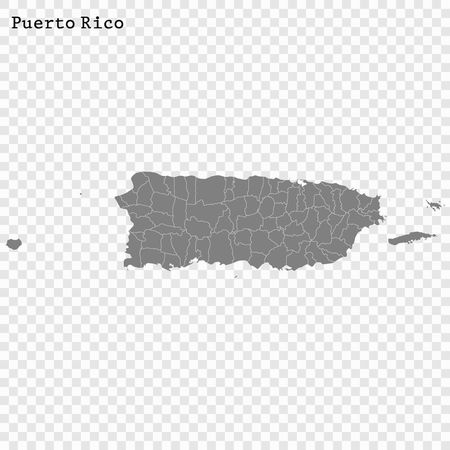 High Quality map of Puerto Rico is a state of United States with borders of the counties