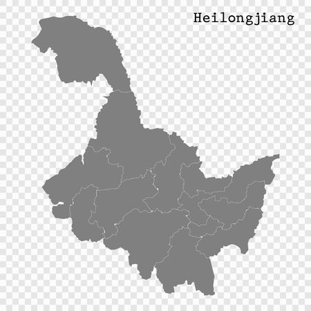 High Quality map of Heilongjiang is a province of China, with borders of the divisions Illustration