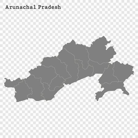 High Quality map of Arunachal Pradesh is a state of India, with borders of the districts