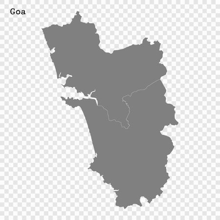 High Quality map of Goa is a state of India, with borders of the districts