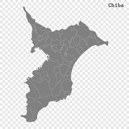 High Quality map of Chiba is a prefecture of Japan with borders of the districts  イラスト・ベクター素材
