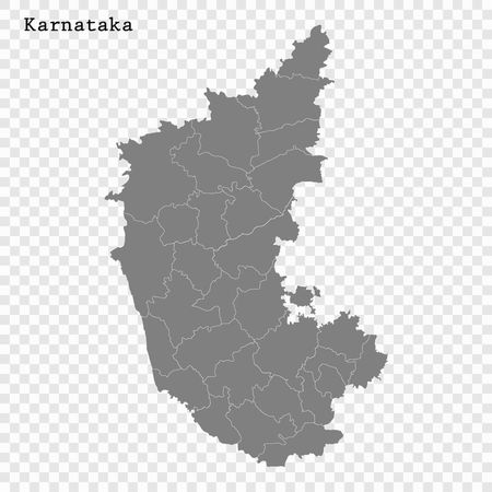 High Quality map of Karnataka is a state of India, with borders of the districts