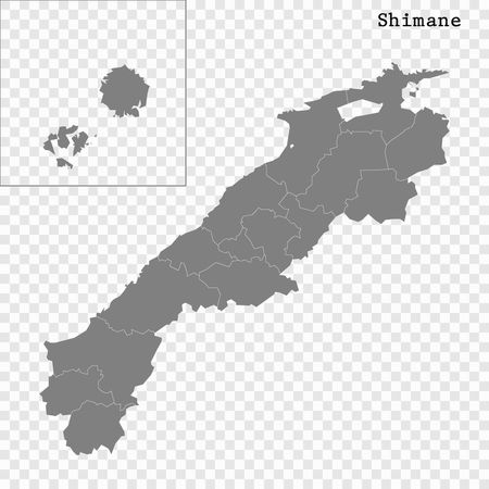 High Quality map of Shimane is a prefecture of Japan with borders of the districts