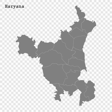 High Quality map of Haryana is a state of India, with borders of the districts