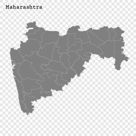 Hochwertige Karte von Maharashtra ist ein Bundesstaat Indiens mit Grenzen der Bezirke Vektorgrafik