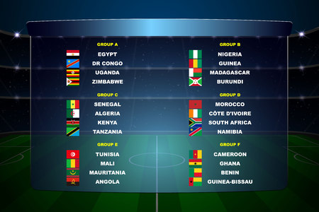 Africa nations soccer cup groups. All flags Banque d'images - 123026029