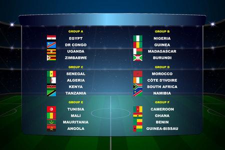 Afrika-Nationen-Fußball-Cup-Gruppen. Alle Flaggen