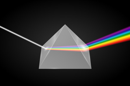 Glass pyramid refraction of light, Prism with spectrum effect