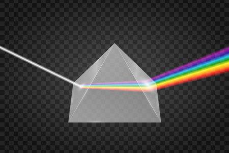 Glaspyramide Lichtbrechung, Prisma mit Spektraleffekt Vektorgrafik