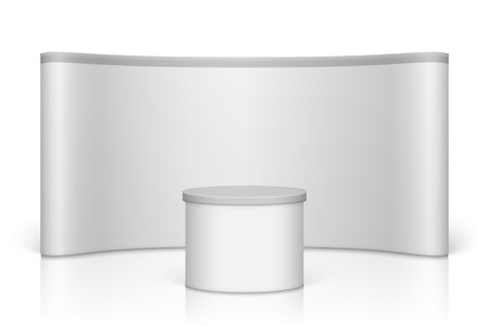 White blank trade show booth. Round  exhibition stand
