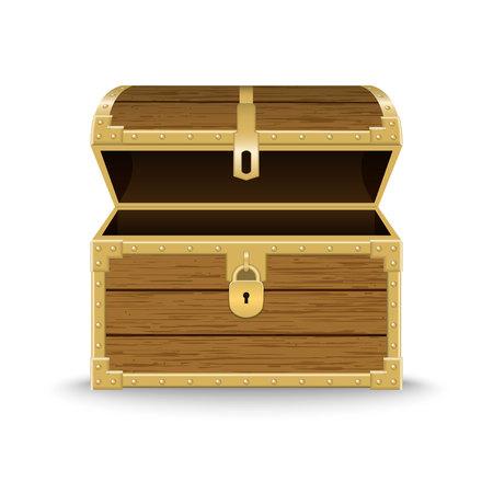 Coffre en bois réaliste ouvert. Modèle pour votre conception