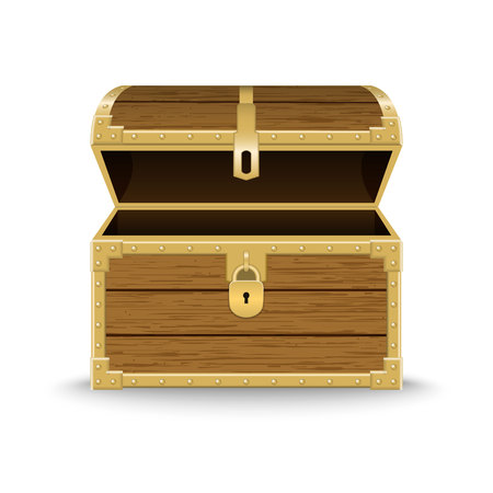 Opened realistic wooden chest . Template for your design