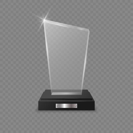 Glass trophy award on transparent background . Template for your design Vektoros illusztráció