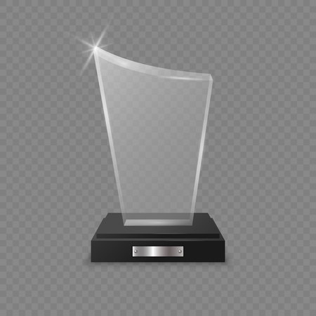 Glass trophy award on transparent background . Template for your design