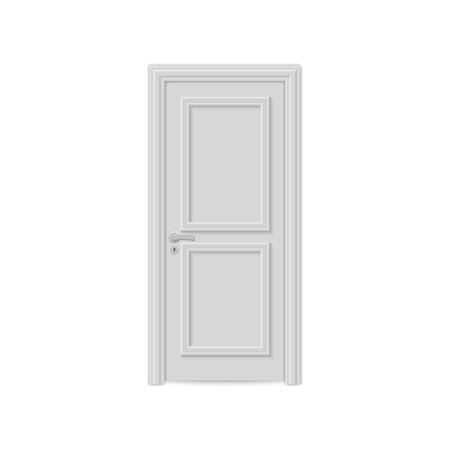 closed realistic door isolated on white background  イラスト・ベクター素材