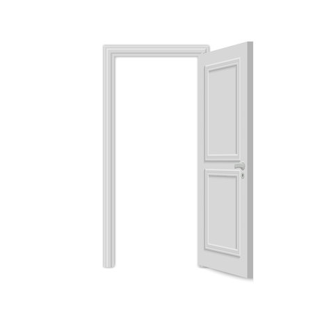 Open realistic door isolated on white background