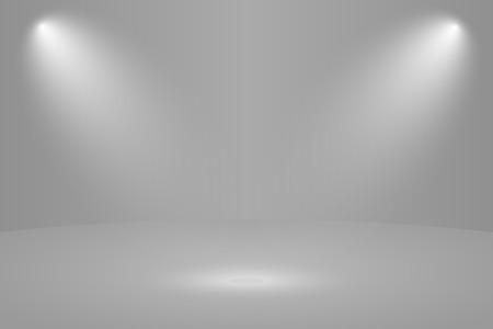 Empty white round studio room with light