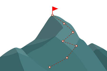 Mountain peak with climbing route . Template for your design