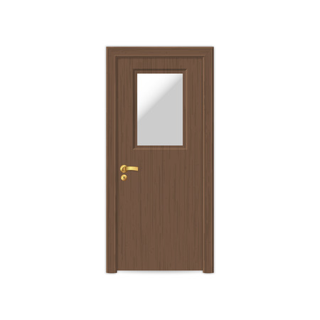 realistic wooden door isolated on white background