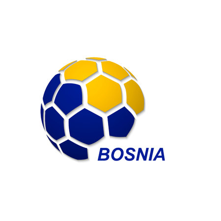 Football banner. Vector illustration of abstract soccer ball with Bosnia national flag colors