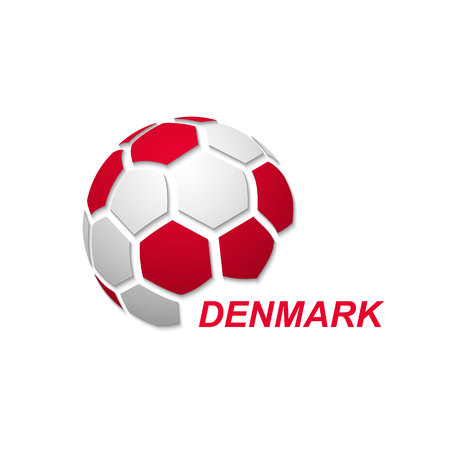 Football banner. Vector illustration of abstract soccer ball with Denmark national flag colors Vetores