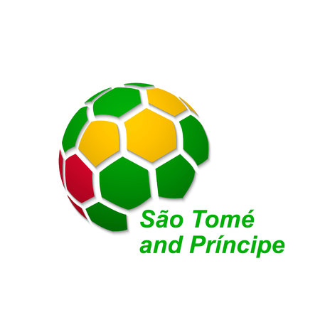 Football banner. Vector illustration of abstract soccer ball with SaoTome national flag colors