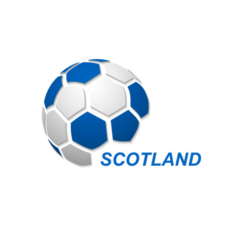 Football banner. Vector illustration of abstract soccer ball with Scotland national flag colors