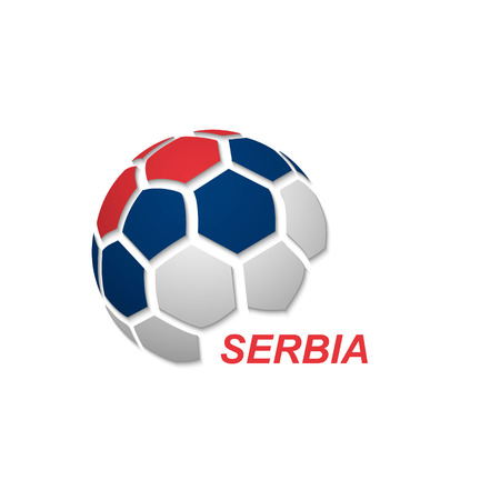 Football banner. Vector illustration of abstract soccer ball with Serbia national flag colors Vektorové ilustrace