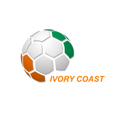 Football banner. Vector illustration of abstract soccer ball with Ivory Coast national flag colors